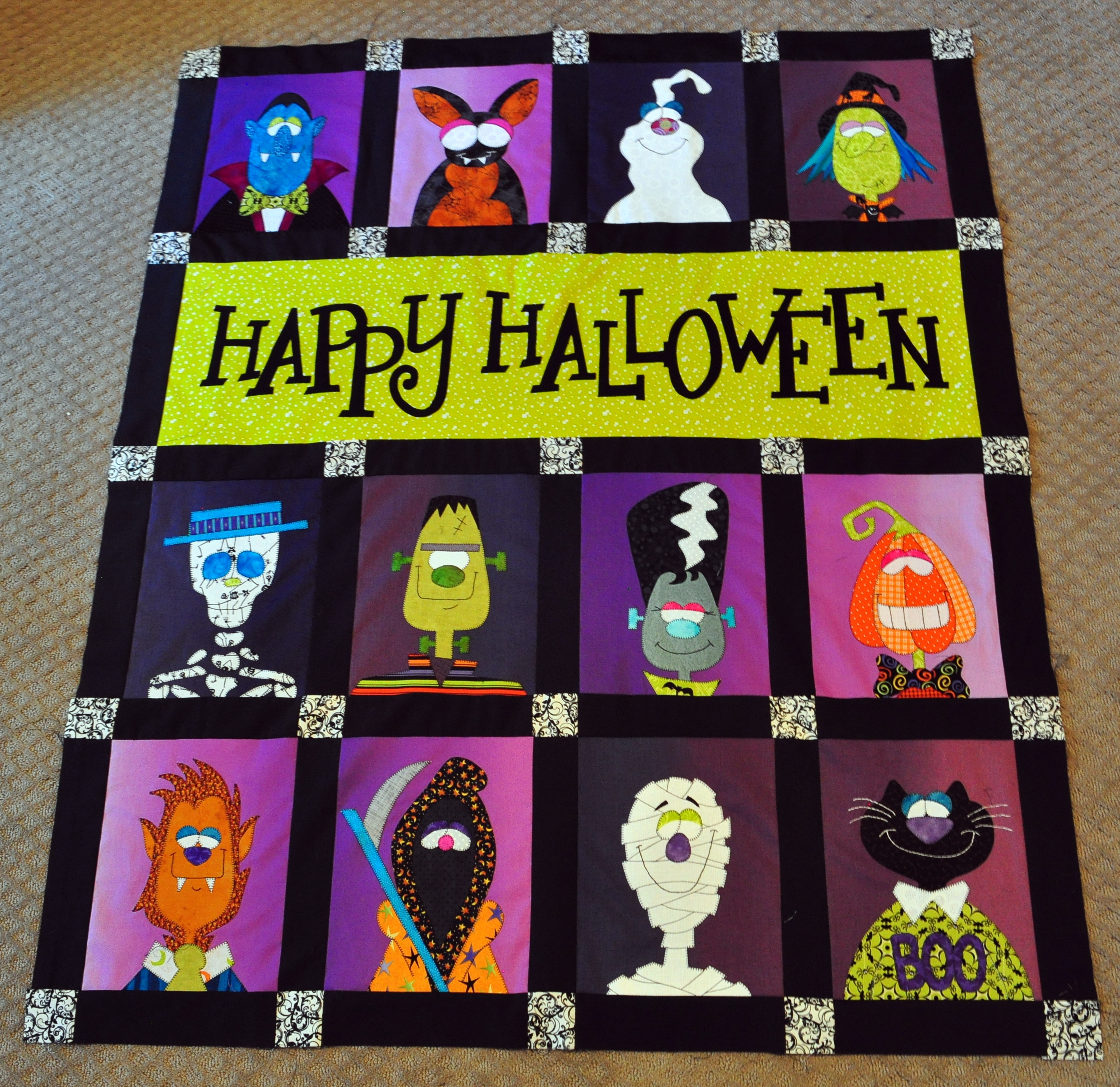 Werewolf, Death, Mummy, and Cat Halloween Quilt Blocks – the Final ... : halloween quilt blocks - Adamdwight.com