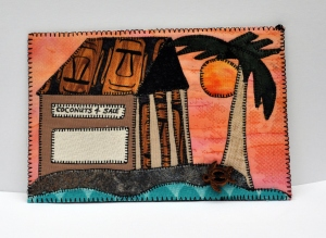 Tiki Hut Tropical Beach Postcard
