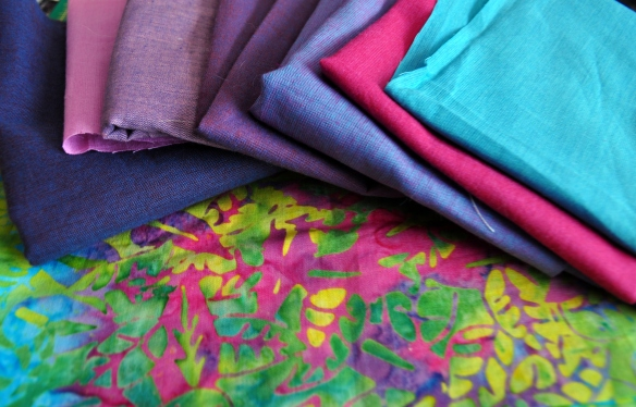 Kaffe Fassett Shot Cottons and a Batik