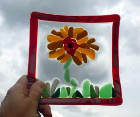 Glass Sunflower Dish Outside