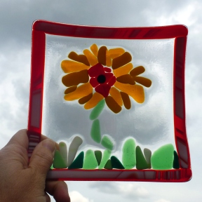 Glass Sunflower Dish Outside