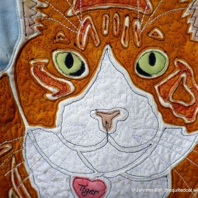 Tiger, quilting close-up