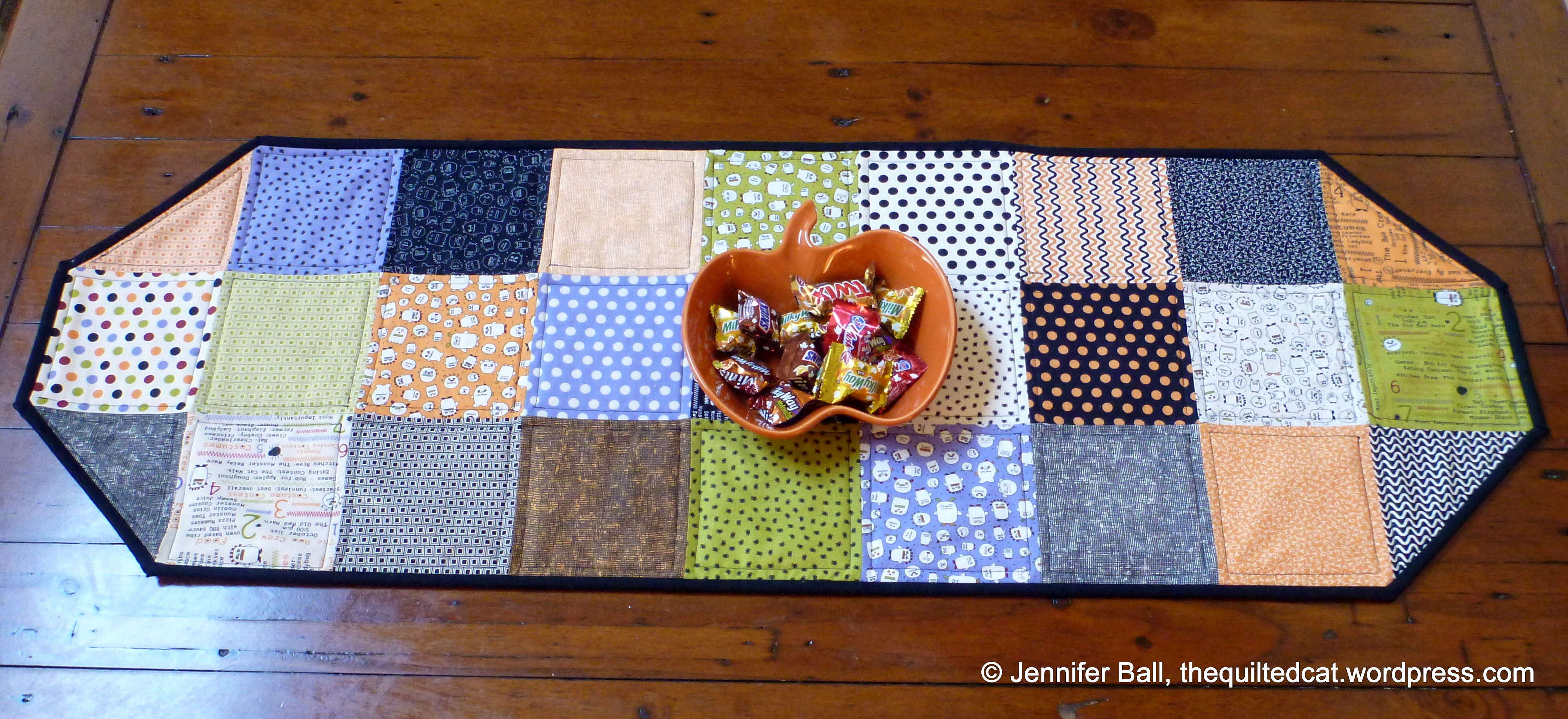 Easy Charm Square Halloween Table Runner Tutorial | the quilted cat : quilted table runner tutorial - Adamdwight.com