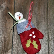 Finished Snowman in Mitten