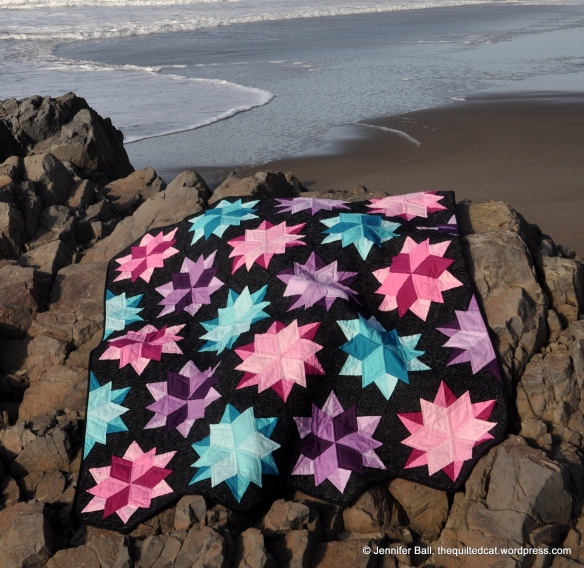 Night Sky Quilt - starbursts resemble starfish!