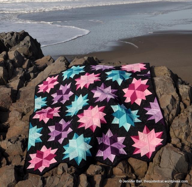 Night Sky Quilt - starbursts resemble starfish!
