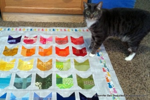 Romeo Inspects the Cat Quilt