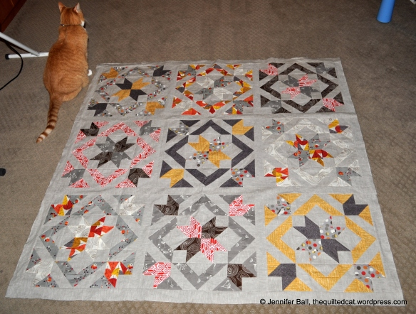 SLSB QAL Quilt Top, Indoors with Cat Inspector