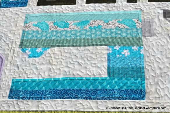 Close-up view of free motion quilting