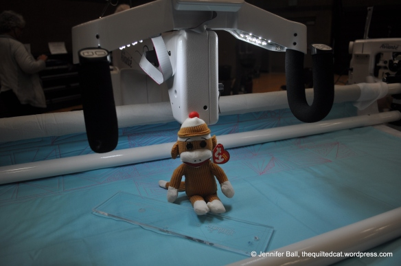 Quilting with Sock Monkey