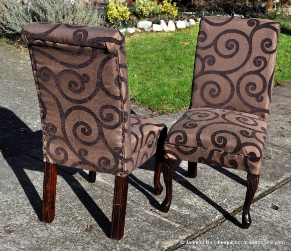 Re-upholstered chairs, front and back