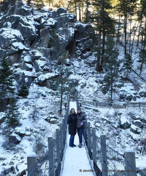 Standing on a frozen bridge with my sister!