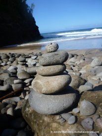 Rock sculptures at Hanakapi'ai Beach