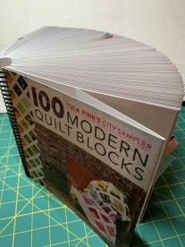 Tula's 100 Modern Quilt Blocks book, filled with my blocks